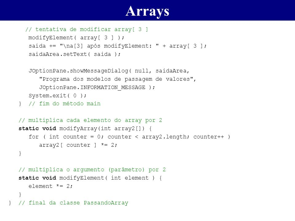 Arrays // tentativa de modificar array[ 3 ]